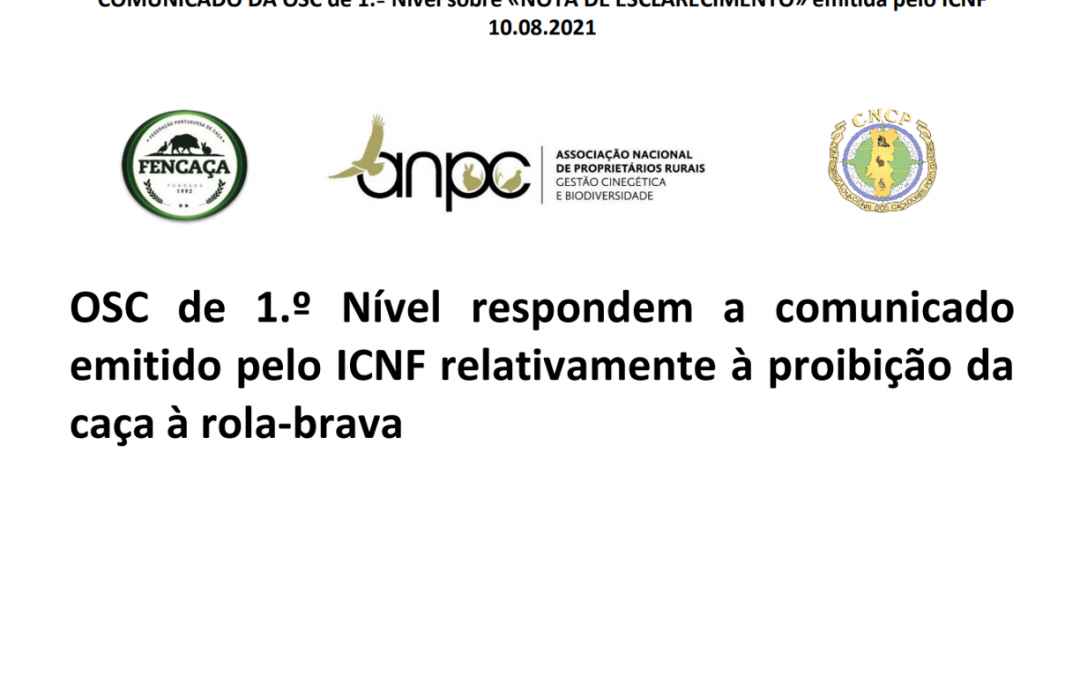 OSC de 1.º Nível respondem a comunicado emitido pelo ICNF relativamente à proibição da caça à rola-brava